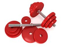 Red Dumbbells Royalty Free Stock Photo