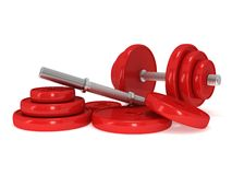 Red Dumbbells Stock Images