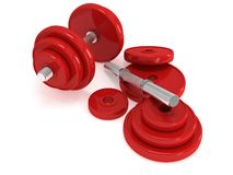 Red Dumbbells Royalty Free Stock Photos