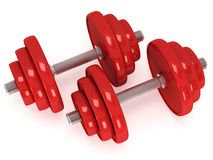 Red Dumbbells Stock Photos