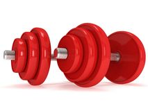 Red Dumbbells Stock Photo
