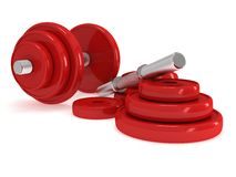 Red Dumbbells Stock Image