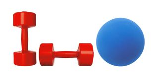 Red dumbbells fitness and blue ball isolated on white Stock Photo