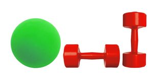 Red dumbbells fitness and green ball isolated on white Stock Photo