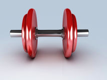 Red dumbbells for fitness Royalty Free Stock Image