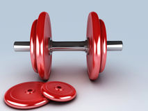 Red dumbbells for fitness Stock Photos