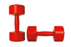 Red dumbbells fitness royalty free stock photo