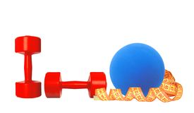 Red dumbbells fitness, measure tape and blue ball isolated Stock Photos