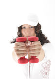 Red dumbbells to hands Royalty Free Stock Photos