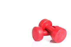 Red dumbbells weight Royalty Free Stock Photography