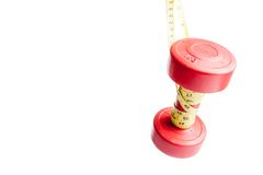 Red dumbbells weight with measuring tape Stock Images