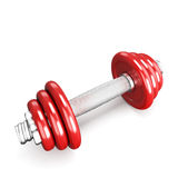 Red dumbbells on white background Royalty Free Stock Photos