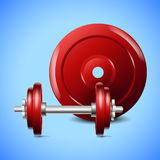 Red dumbells on blue background. vector Stock Photos
