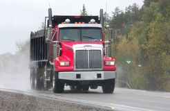 Red dump truck Stock Images