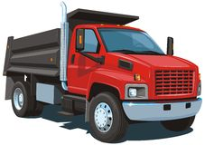 Red dump truck stock image