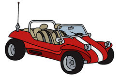 Red dune buggy. Hand drawing of a funny red dune buggy - not a real model Stock Image
