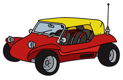 Red dune buggy. Hand drawing of a red dune buggy with the yellow roof - not a real model royalty free illustration