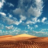 Red dunes. Under a summer sky stock photos