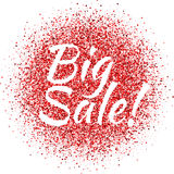 Red dust with BIG Sale sign. Glitter. Sale shimmer. Sparkling text. Royalty Free Stock Images