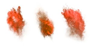 Red dust explosion isolated on white background Royalty Free Stock Photo