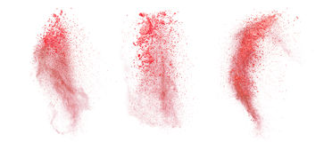 Red dust explosion isolated on white background Stock Images