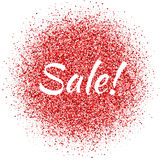 Red dust with Sale sign. Glitter. Sale shimmer. Sparkling text Royalty Free Stock Photography