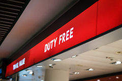 Red duty free shop sign in an international airport Stock Photo