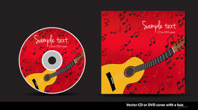Red  DVD cover design with guitar. Red music  CD or DVD cover design with guitar and notes Stock Photo