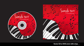 Red DVD cover design with piano. Red music  CD or DVD cover design with piano and notes Stock Photo