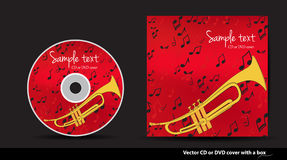 Red  DVD cover design with trumpet Royalty Free Stock Photo