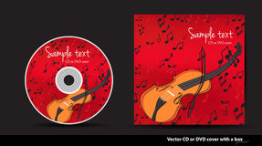 Red  DVD cover with violin and notes Stock Image