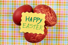 Red dyed eggs. Easter handmade card. Common Easter attributes royalty free stock photo