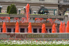Red dyed fountain Stock Image