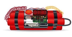 Red dynamite pack with electric time bomb. A red dynamite pack with electric time bomb Stock Photo