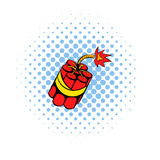 Red dynamite sticks icon, comics style. Red dynamite sticks icon in comics style on a white background Royalty Free Stock Photos