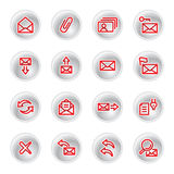 Red e-mail icons. On grey buttons Royalty Free Stock Photos