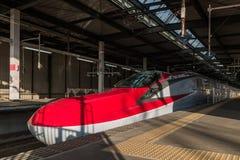 The Red E6 Series bullet(High-speed,Shinkansen) train at Morioka Royalty Free Stock Images