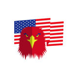 Red eagle head and american flag Stock Images