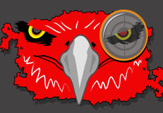 Red Eagle. Illustration of an abstract red eagle with a bullet eye target Royalty Free Stock Images