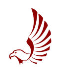 Red eagle with wings. For tattoo design stock illustration