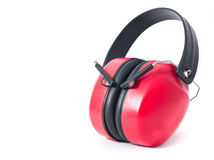 Red earmufs. Red earmuffs isolated on white background royalty free stock images