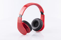 Red Earphones with black pading isolate Royalty Free Stock Photography