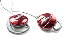 Red earphones Stock Photography