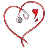 Red earphones heart shaped love music isolated vector.  Royalty Free Stock Image
