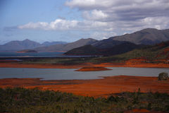 Red earth. The blue river in New Caledonia (oceania Stock Photography