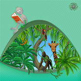 Red earth book. Green page dedicated to the protection of animals and birds listed in the red book. Funny space   character Ein participates in the development Royalty Free Stock Photography