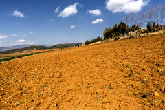 Red earth farmland in Dongchuan,Yunnan, China stock images