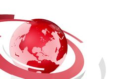 Red earth globe with rotating ribbons looping animation stock video footage