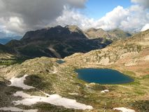 Red Earth Lakes trail and lower druo, France Stock Photo