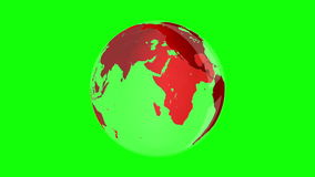 Red earth spinning on green screen background stock video